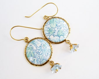 Blue earrings,Recycled tin earrings, flowers and leaves, Floral earrings, Round earrings, Brass earrings, Vintage Tin jewelry, Gilt earrings