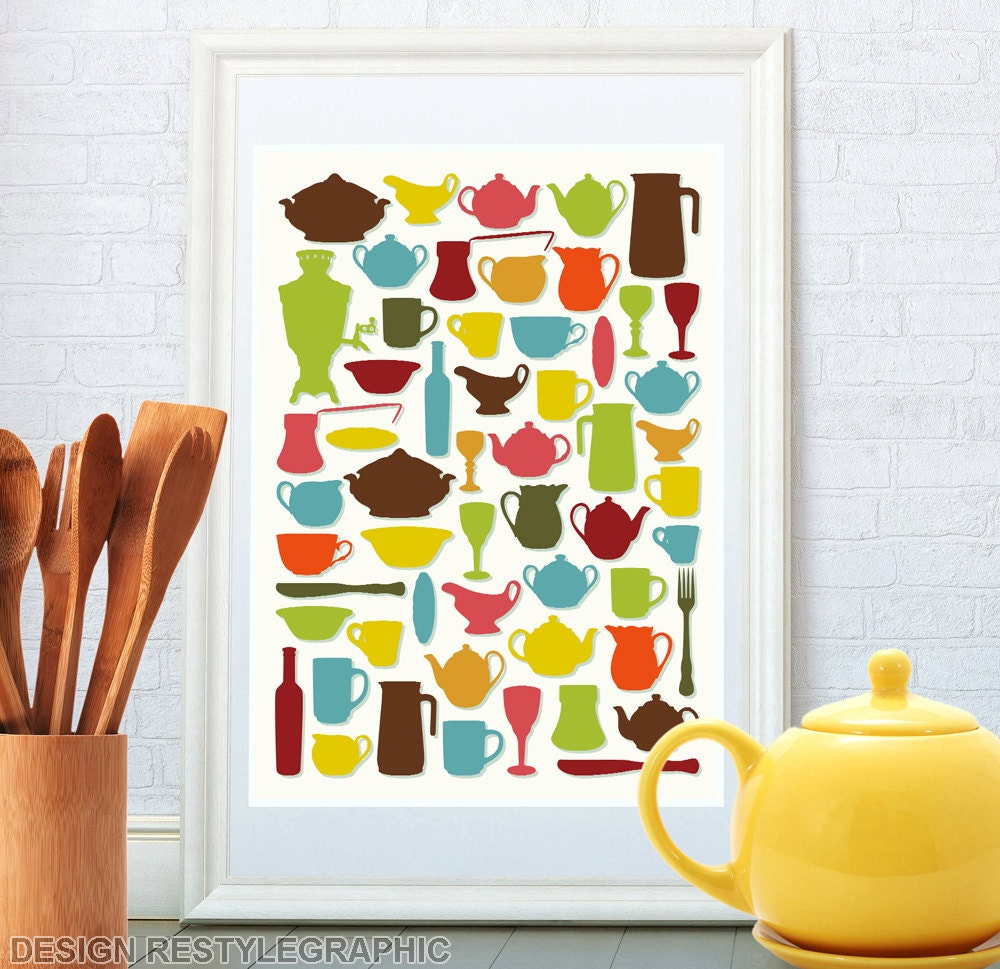 Kitchen art kitchen wall decor retro tableware by for Kitchen wall art sets