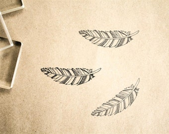 Feather Stamp ( 2 x 2 Inches ) - Southern Rubber Stamp - Indian Feather Rubber Stamp