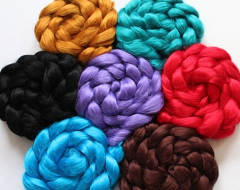 2 oz braid of Viscose Bamboo in one of ten colors - Pictures reflects all 10 colors - view first 2 pictures for all colors