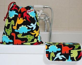 Dinosaur Wash Bag and Wash Cloth