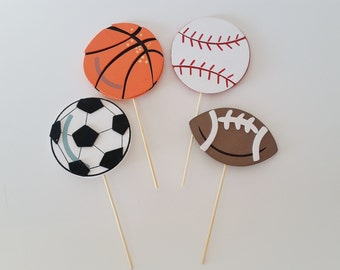 Sports Baby Shower Diaper Cake Toppers, Wooden Cake Toppers, Diaper Cake Decorations, Baby Boy Shower Decor, Football, Baseball, Basketball