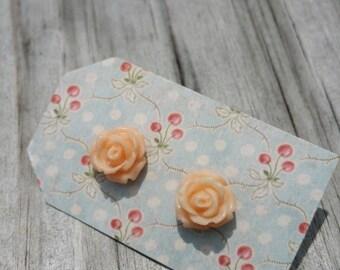 Sweet Little Peach Rose Earrings
