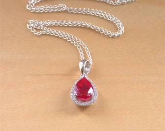 "925 Ruby (Lab Created) Pear Pendant & 18"" Silver Chain/Ruby Jewellery/Ruby Jewelry/925 Silver Ruby Necklace/July Birthstone/Red Ruby Jewelry"
