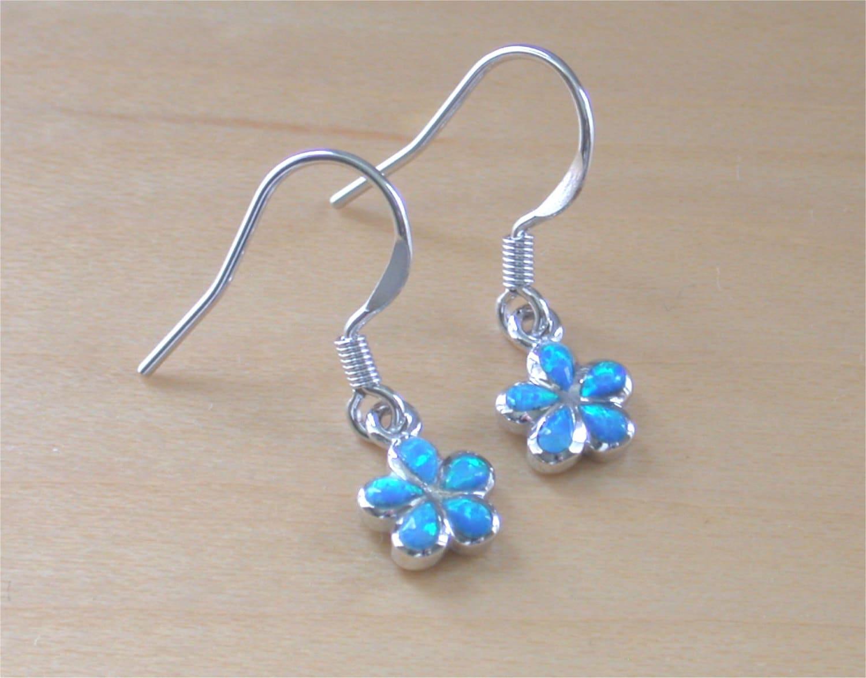 925 blue opal flower earrings 925 silver opal drop. Black Bedroom Furniture Sets. Home Design Ideas
