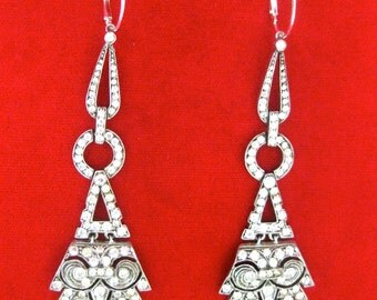 Pair of Art-Deco Sterling Silver & Paste Earrings