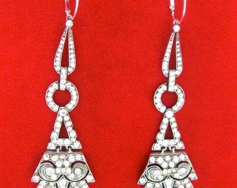 Pair of Art-Deco Sterling Silver & Paste Earrings