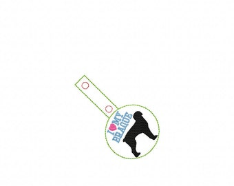I Love My Braque - Braque Du Bourbonnais - In The Hoop - Snap/Rivet Key Fob - DIGITAL Embroidery Design
