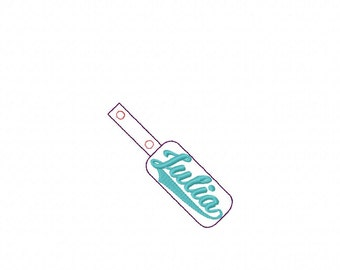 Julia - Name - In The Hoop - Snap/Rivet Key Fob - DIGITAL EMBROIDERY DESIGN