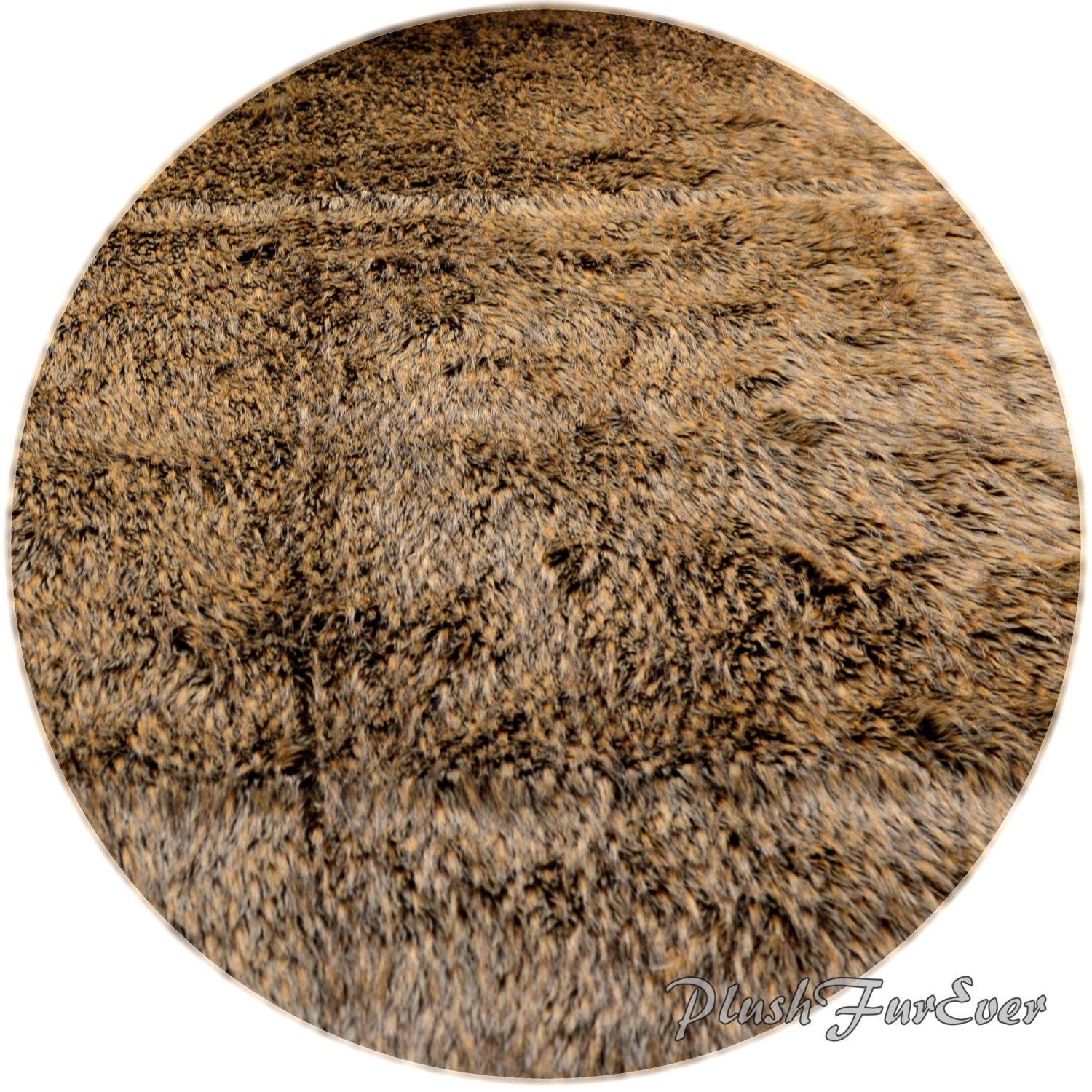 New Grizzly Bear Round Faux Fur Rug Nonslip Suede Backing