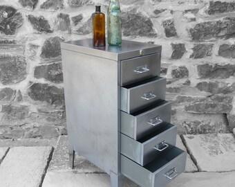Vintage Steel Metal Filing Cabinet - Polished Finish - 1950s Office Paper Storage