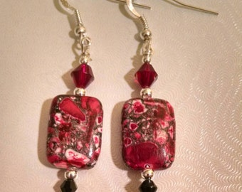 Red Stone Bead Earrings Item No. 145