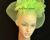 KENTUCKY DERBY Fascinator Local Louisville RTS Ready to Ship Pickup Oaks Day Hat Dress Church Grey Lime bright green chartreuse