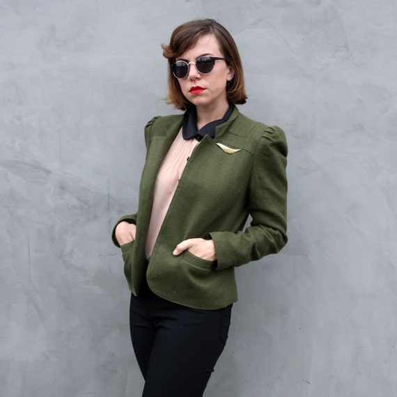 Olive Green Box Cut Womens Jacket 1940s Army Bomber Style