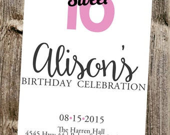 Birthday Invitation- Sweet 16 -  Simple on white