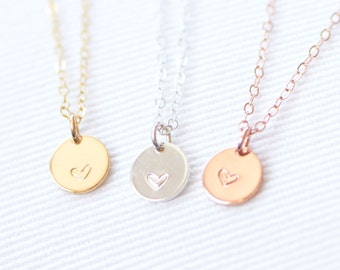 Heart Necklace, Hand Stamped Heart Necklace, Sterling Silver, Gold Filled, Rose Gold Necklace, Circle with Heart Necklace