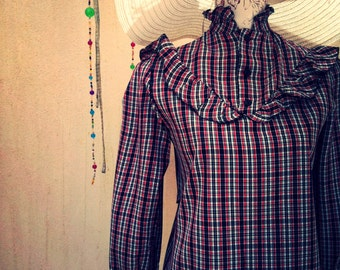 Vintage shirt-victorian shirt-vintage blouse-retro shirt-vintage blouse-garden party-cottage chic-vintage plaid shirt-