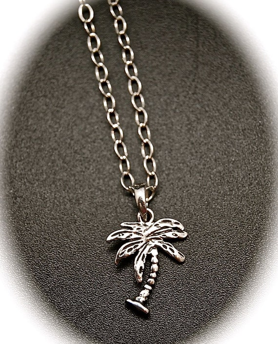 palmtree jewelry sterling silver palm tree pendant necklace 6217