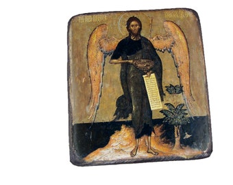 """11x13cm-4x5"""" wooden Orthodox icon John the Baptist - the Angel of the Desert. Patron of French Canada and many other places. Baptism gift."""