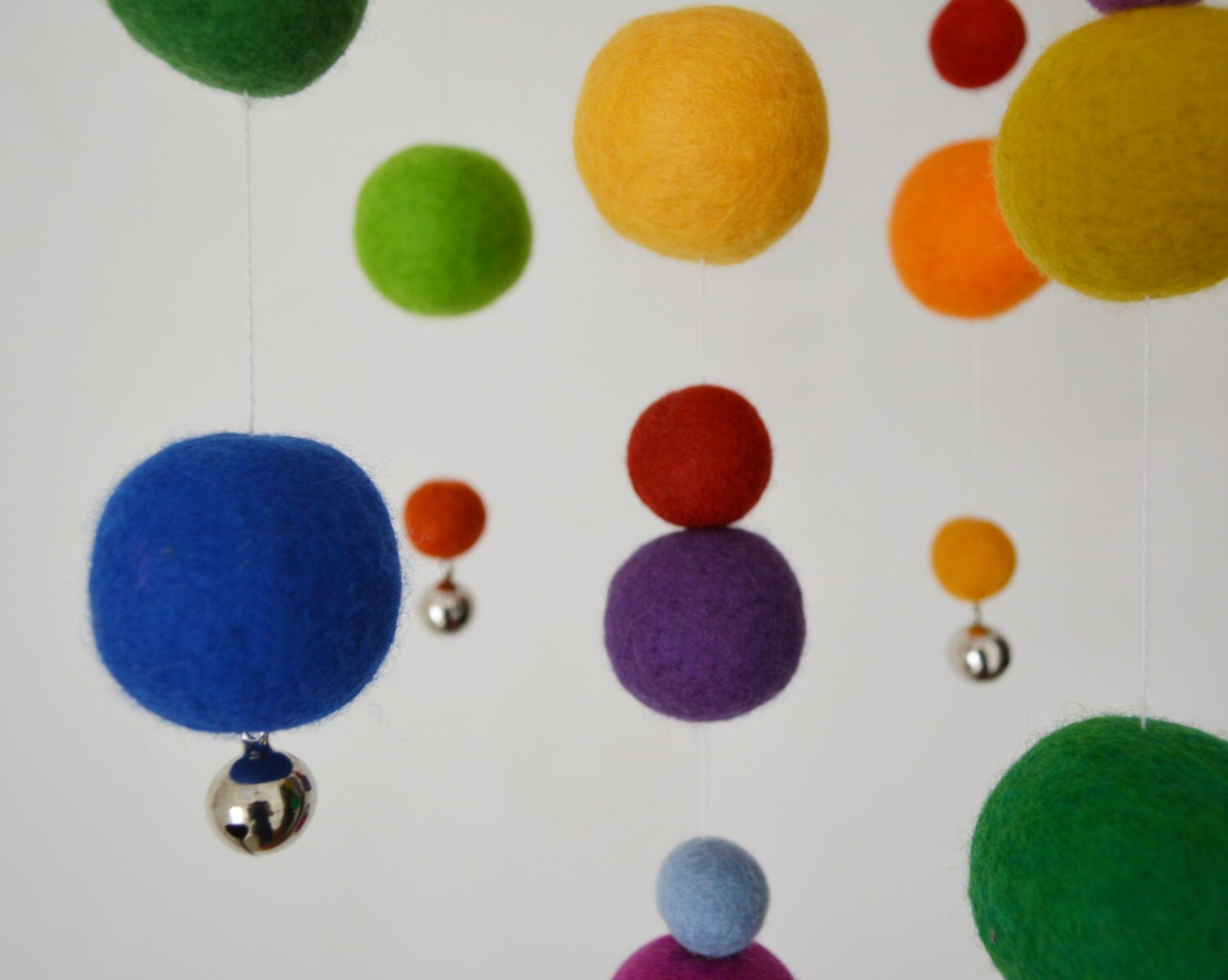 Custom felted ball mobile with or without jingle bells by ...