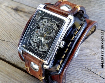 Leather watch for men's, Skeleton Leather Cuff, Wrist Watch, Men's Leather Cuff, Bracelet Watch, Watch Cuff, Steampunk watch