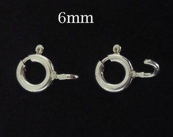 200pcs Sterling Silver clasps , wholesale spring ring clasps 6mm , Solid silver bolt ring clasps bulk , silver clasps bulk 30%Discount