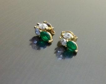 14K Yellow Gold Marquise Emerald Marquise Diamond Stud Earrings - 14K Gold Emerald Earrings - 14K Gold Diamond Earrings - Marquise Earrings