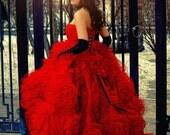 Red Wedding Dress/ Ball Gown Wedding Dress/ Fluffy Wedding Dress/Tightening corset. Free shipping