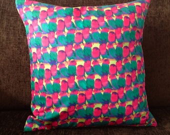 Tropical Love Birds Cushion Cover - With Black Back