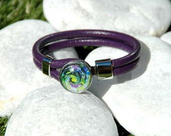 Purple Leather Bracelet Snap Jewelry Noosa Style, Ginger Snaps Jewelry Interchangeable Snap On Button Included.