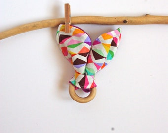 Bunny Ear Teether Natural Wood for Baby - Montessori Geometrical