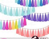 Rainbow Tassel Garland Clipart Bundle, Digital Clip Art, Garland Banner, Graphics