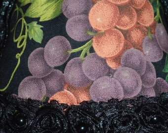 SHABBY CHIC Grape Cluster Night Light Wine Country Print Fabric Shade With Bead Trim