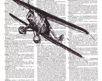 Vintage Wall Art Print - Dictionary Art - Vintage Dictionary Paper - Vintage Plane