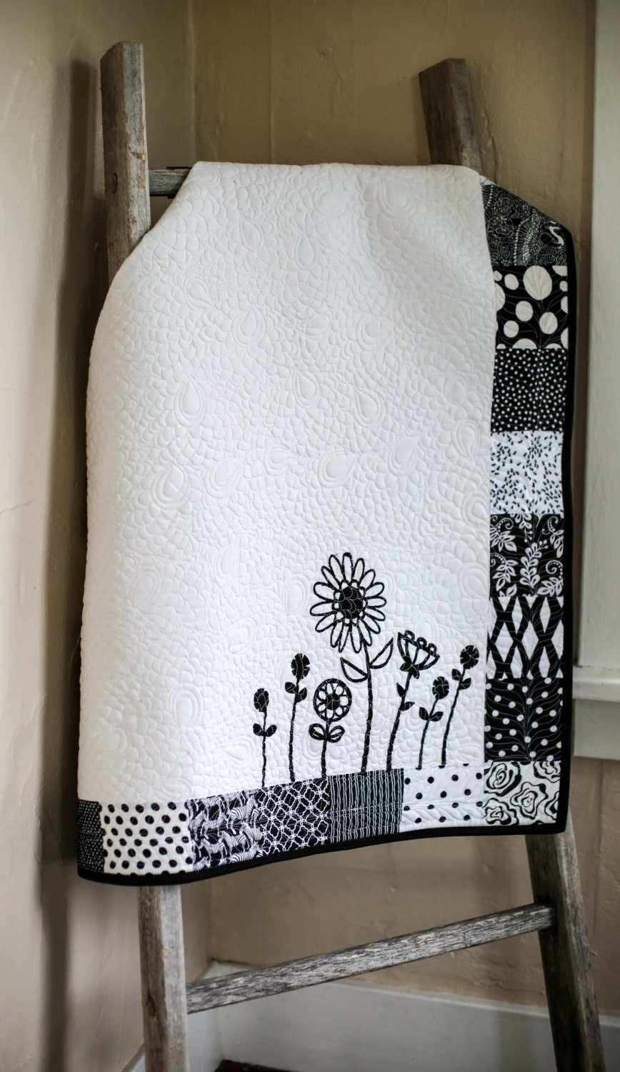 black and white nursery decor modern baby quilt by