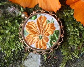 Vintage Glass Locket with Kensita Nastursium Silk Flower