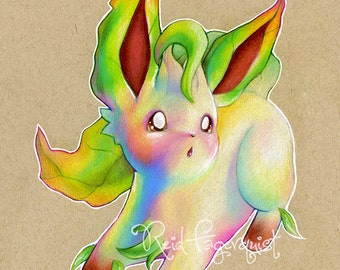 Colorful Leafeon art PRINT, signed