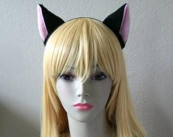 Black Short Fur Front Facing Cat Ear Set with Metal Headband (Clip & Band Convertible) Kitty Ears Fox Ears Anime Cosplay Neko Animal Costume