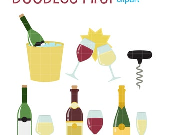 Wine Set Clip Art for Scrapbooking Card Making Cupcake Toppers Paper Crafts