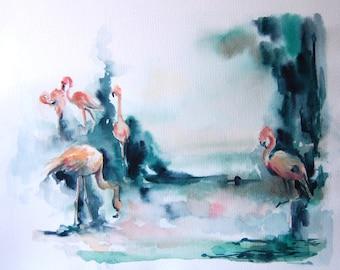 Original Watercolor Painting, Flamingos Painting, Bird Watercolour Art, Pink and Emerald Green