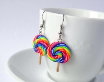 Rainbow lollipop earrings dangle candy sweet kawaii colourful