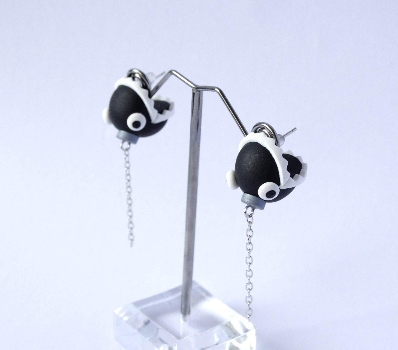 mario chain chomp earrings biting geeky by shinystuffcreations