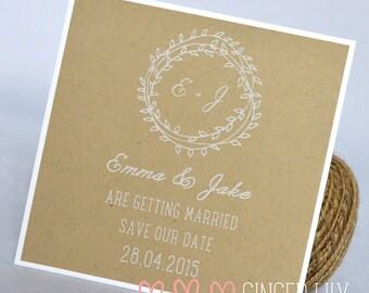 Rustic Kraft Wedding Save the Date Card - White Print - Boho Wreath