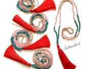 Red Tassel Necklace, Burnt Orange Coral turquoise teal bead bohemian mantra chakra yoga birthday Valentine's Day Etsy rubenabird australia