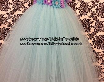 One Shoulder AquaFlower Girl Tutu Dress with Aqua Lilac Flowers, Aqua Blue Tutu Dress, Flower Girl Dress,  Party Dress, Aqua Blue Tutu