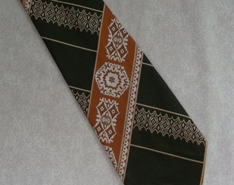 Vintage wide tie by Meritus 1970s dark brown & copper orange patterned funky necktie