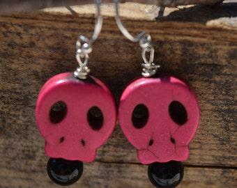 Pink Magnesite Skull Earrings on Sterling Silver