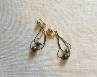 vintage dangly clip on earrings