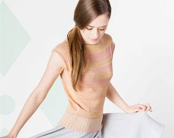 LISA knit shirt marbled yellow / rose