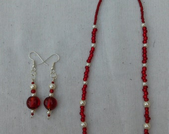 Romantic Red Glass & White Pearl Neckace and Earrings